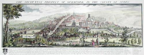 Guildford, Pan. View (colour) (Restrike Etching) by Samuel Buck