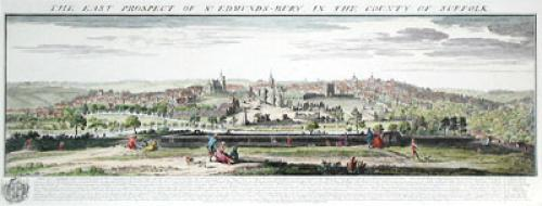 Bury St. Edmunds, Pan. View (Restrike Etching) by Samuel Buck