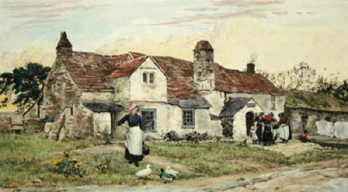 Village Post Office (Restrike Etching) by Sir Ernest Waterlow