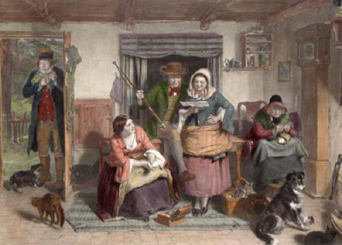 Listener Ner Hrs Gude o Himsel (Restrike Etching) by Thomas Faed