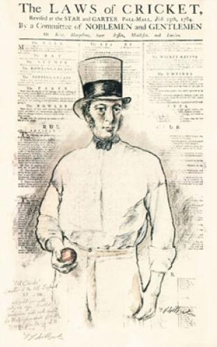 Cricket, Laws of Old Clarke (Restrike Etching) by Terence Gilbert