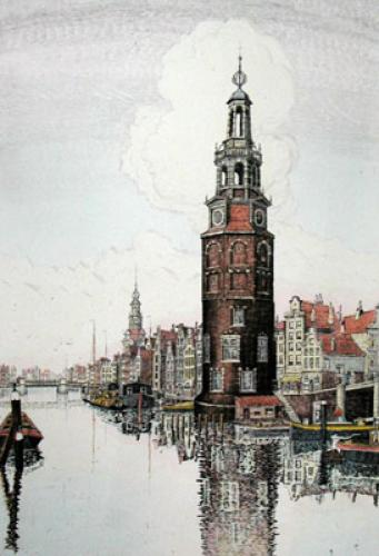 Amsterdam (upright) (Restrike Etching) by J.R. Power
