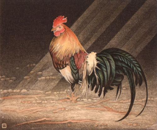 Cockerel (Restrike Etching) by Alex Mackay