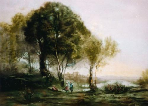 Dancer At Gondolfe Castle (Restrike Etching) by Jean-Baptiste-Camille Corot