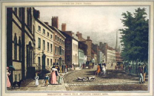 Broadway, Bowling Green, 1828 (Restrike Etching) by John Burnett