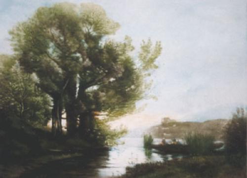Passage De La Riviere (Restrike Etching) by Jean-Baptiste-Camille Corot