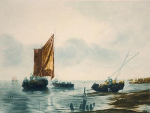 Fishing boat at Anchor (Restrike Etching) by Willem Van de Velde