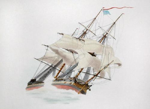 Trafalgar - Bow View (Restrike Etching) by W.J. Huggins