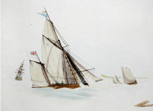 Pleasure Yacht (Restrike Etching) by W.J. Huggins
