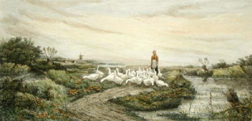 Evening (Bringing Home Geese) (Restrike Etching) by W.C. Tennick