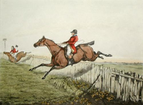 Hunting Recollections, There (Restrike Etching) by Henry Alken