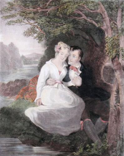 Robert Burns and Highland Mary (Restrike Etching) by R. Edmonstone