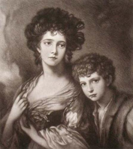 Miss Linley & Brother (Restrike Etching) by Thomas Gainsborough
