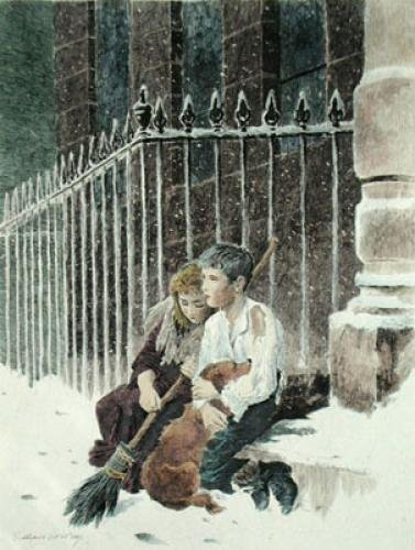 The Two Orphans (Restrike Etching) by S. Myers