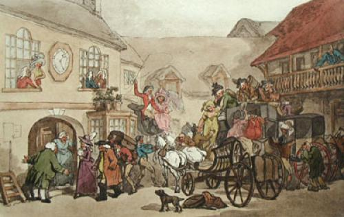Old Angel Inn, Islington (Restrike Etching) by Thomas Rowlandson