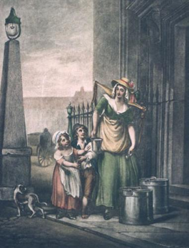 London Cries, Milkmaids (Restrike Etching) by Francis Wheatley