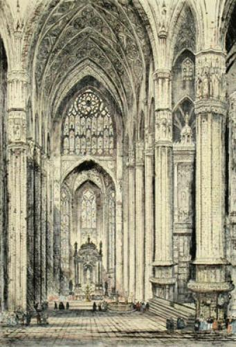 Milan Cathedral (Interior) (Restrike Etching) by Anonymous