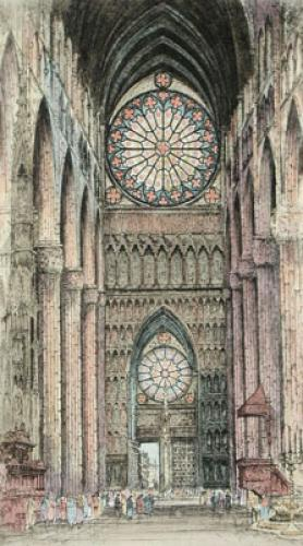 Cathedral Int. (Med) Pl. I (Restrike Etching) by Anonymous