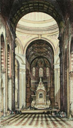 St Pauls Cathedral (Interior) (Restrike Etching) by Anonymous
