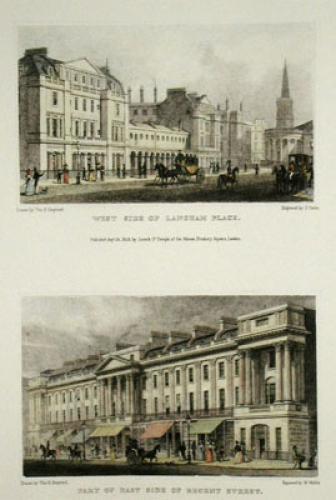 Langham Place, Regent Street (Restrike Etching) by Thomas H. Shepherd