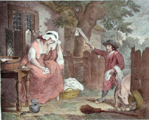 Idle Laundress (Restrike Etching) by George Morland