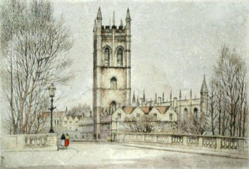 Magdalen Tower of Oxford (Restrike Etching) by Anonymous