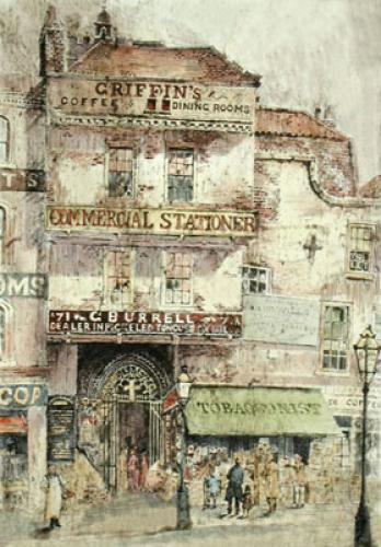 Entrance to St Bartholmews (Restrike Etching) by William Monk