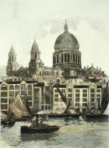 St Pauls Cathedral (Restrike Etching) by Anonymous