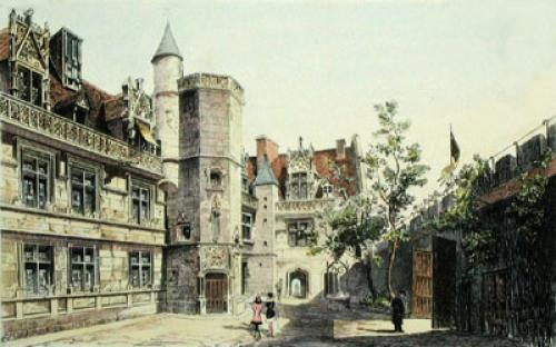 A Paris Courtyard (Restrike Etching) by Anonymous