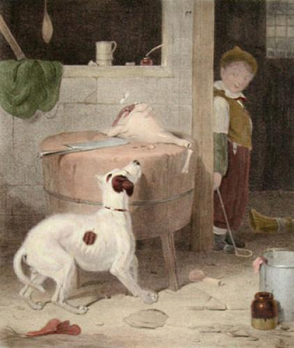 Temptation (Dog & Boy) (Restrike Etching) by Anonymous