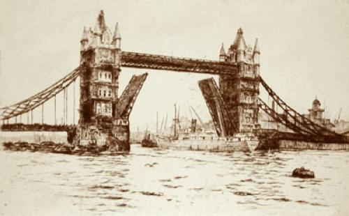 London View - Tower Bridge (Restrike Etching) by Dorothy Sweet