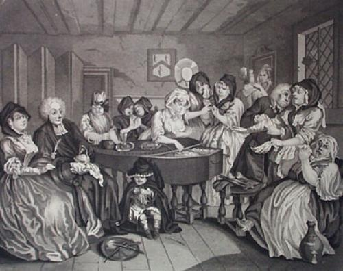 Harlots Progress, Funeral (Restrike Etching) by William Hogarth