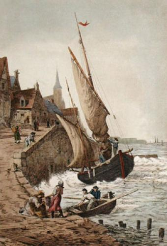 Fishing in Bretagn, France I (Restrike Etching) by Anonymous