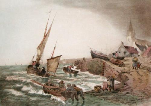 Fishing in Bretagn, France III (Restrike Etching) by Anonymous