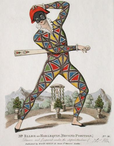 Mr Eller As Harlequin (Restrike Etching) by Anonymous