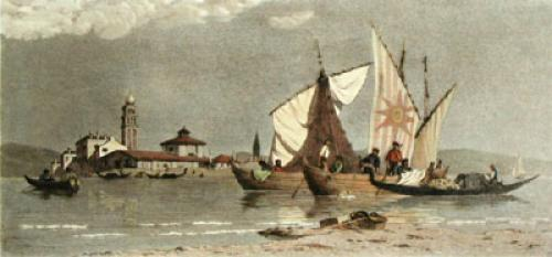 Venice, Landing Fishing Boats (Restrike Etching) by Anonymous