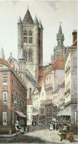 Ghent, St Baren (Restrike Etching) by Anonymous
