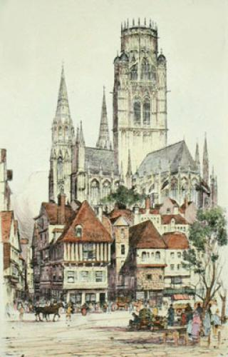 St Owen Rouen, France (Restrike Etching) by William Monk