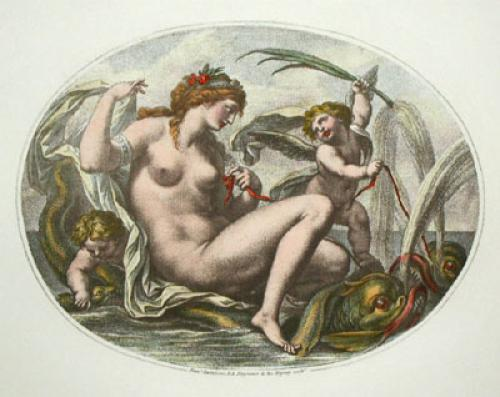 Cupids - Pl. I (Oval) (Restrike Etching) by Anonymous