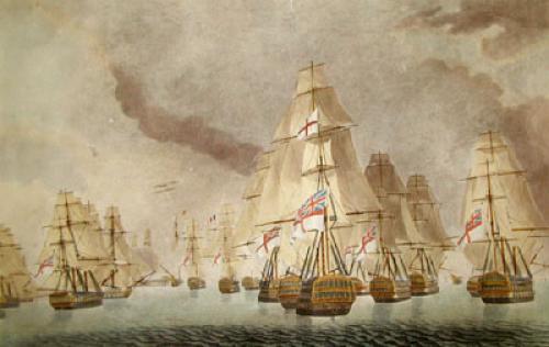 Battle of Trafalgar - Van Div. (Restrike Etching) by Robert Dodd