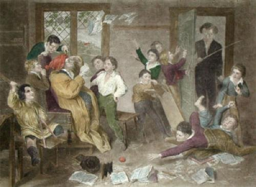 Village School in Uproar (Restrike Etching) by Henry Richter
