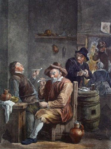 Dutch Smokers (Restrike Etching) by Julian Teniers