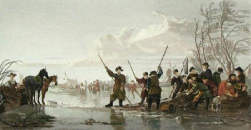 Fishing under the ice (Restrike Etching) by Aelbert Cuyp