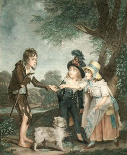 Children Relieving Beggar Boy (Restrike Etching) by Sidney R. Wombill