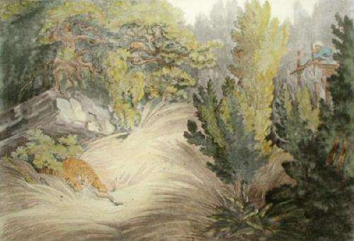 Shooting a Tiger from Platform (Restrike Etching) by Samuel Howitt