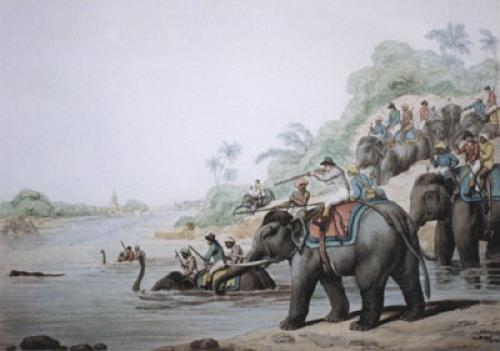 Chasing a Tiger across River (Restrike Etching) by Samuel Howitt