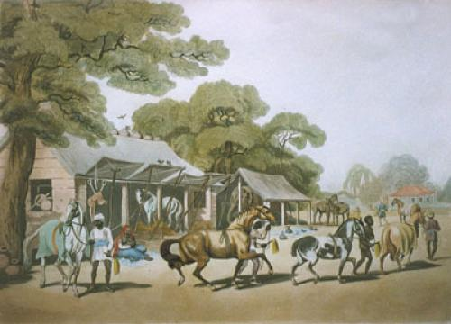 Grooms leading out horses (Restrike Etching) by Samuel Howitt