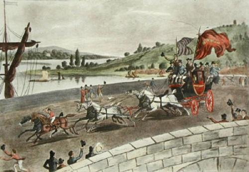 Peace Coach, News of Waterloo (Restrike Etching) by E.F. Lambert