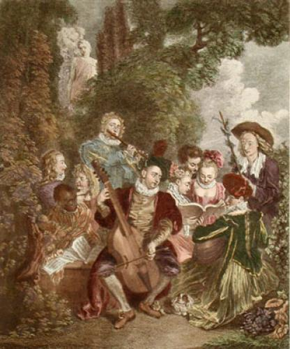 Le Concert Champetre (Restrike Etching) by Jean Antoine Watteau