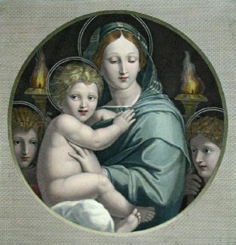 Virgin & Child (Restrike Etching) by Raffaele Sanzio